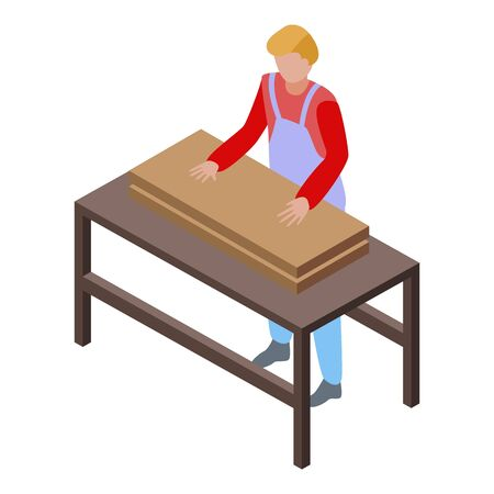 Roofing carpenter icon, isometric style Illustration