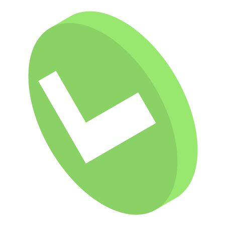 Approved sign icon, isometric style