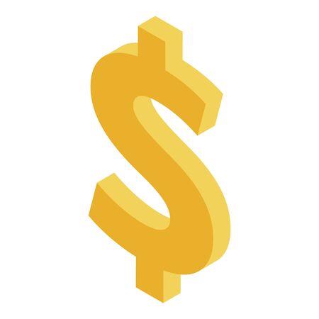 Dollar sign icon, isometric style Ilustração