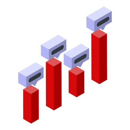 Price chart bars icon, isometric style