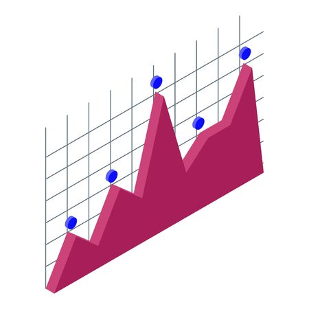 Risk business chart icon, isometric style