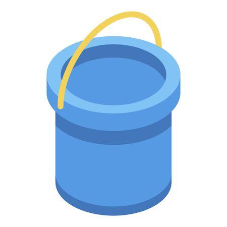 Plastic kid bucket icon, isometric style