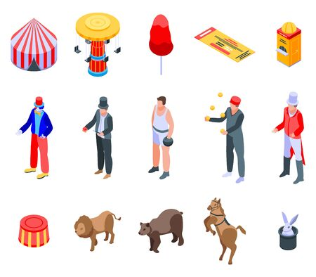 Circus icons set, isometric style