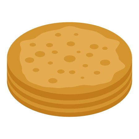 Turkish pancake icon, isometric style