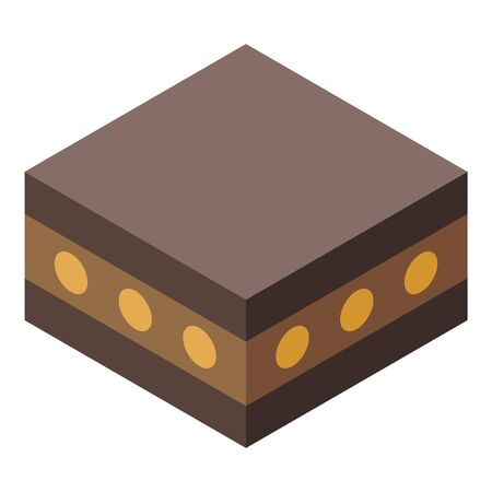 Halva nuts cake icon. Isometric of halva nuts cake vector icon for web design isolated on white background