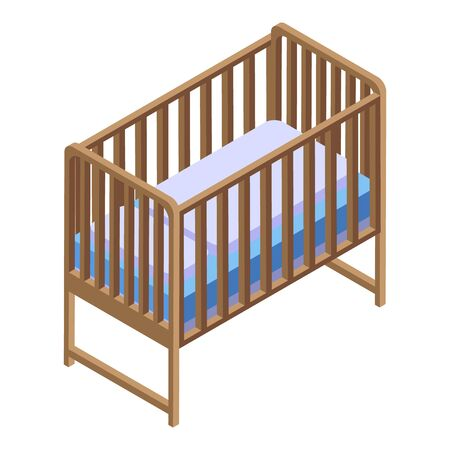 Baby bed icon, isometric style Illustration