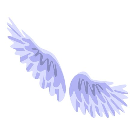 Feather wings icon. Isometric of feather wings vector icon for web design isolated on white background Stock Illustratie