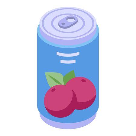 Mangosteen soda drink icon. Isometric of mangosteen soda drink vector icon for web design isolated on white background Illustration