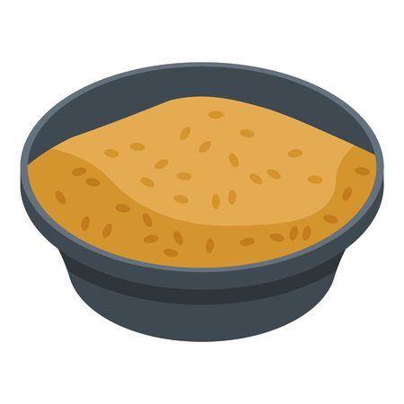 Rice brown dish icon. Isometric of rice brown dish vector icon for web design isolated on white background