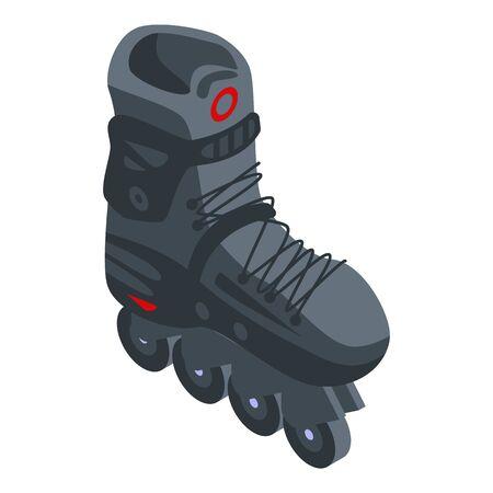 Carbon inline skates icon, isometric style