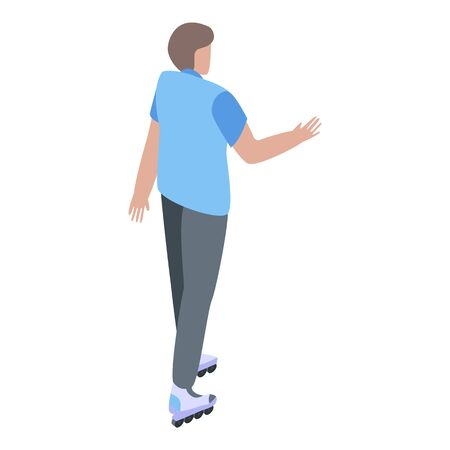 Boy on rollers icon, isometric style