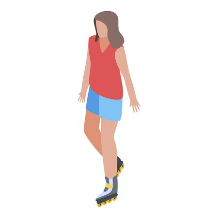Girl on rollers icon. Isometric of girl on rollers vector icon for web design isolated on white background 일러스트