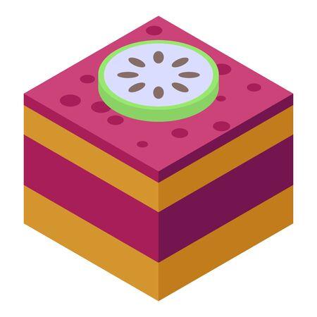 Soursop on cake icon, isometric style