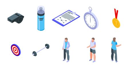 Coach icons set. Isometric set of coach vector icons for web design isolated on white background 向量圖像