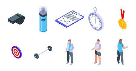 Coach icons set. Isometric set of coach vector icons for web design isolated on white background Illustration