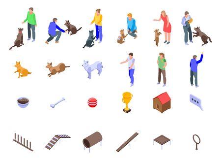Dog training icons set, isometric style