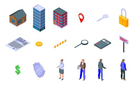 building icons set, isometric style Illustration