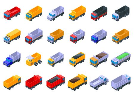 Tipper icons set. Isometric set of tipper vector icons for web design isolated on white background