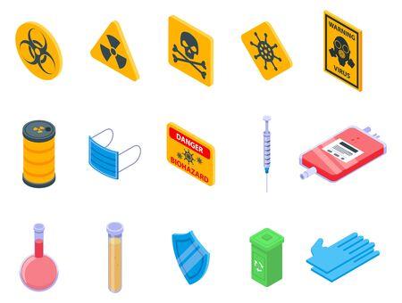 Biohazard icons set, isometric style