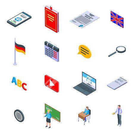 Foreign language teacher icons set. Isometric set of Foreign language teacher vector icons for web design isolated on white background