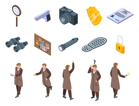 Investigator icons set. Isometric set of investigator vector icons for web design isolated on white background