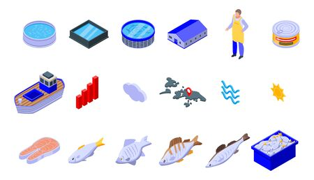 Fish farm icons set. Isometric set of fish farm vector icons for web design isolated on white background