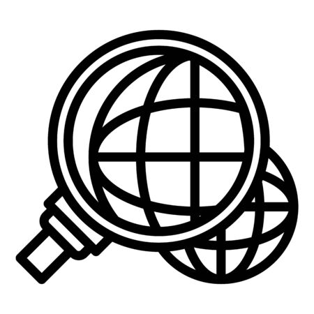 Global innovation under magnifier icon, outline style Ilustracja