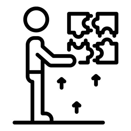 Puzzle resolve skill icon, outline style