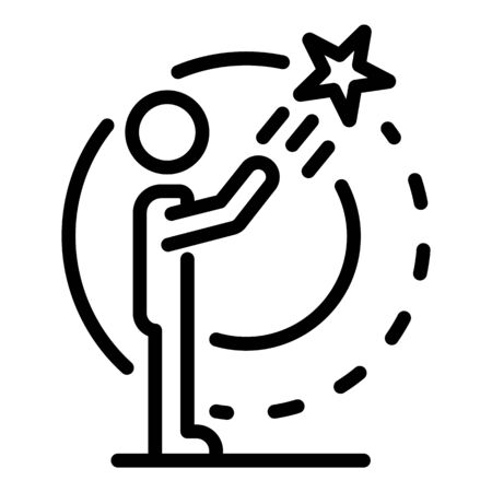 Star explore skill icon, outline style Illustration
