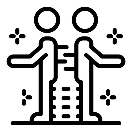 Teamwork life skill icon, outline style