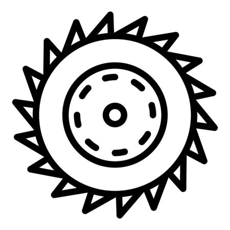 Circular saw blade icon, outline style
