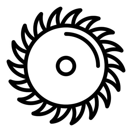 Carpentry circular blade icon, outline style Illustration