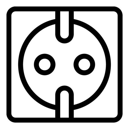 Electric socket icon, outline style 向量圖像