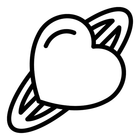 Heart barrette icon, outline style