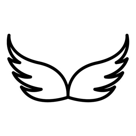 Retro wings icon, outline style