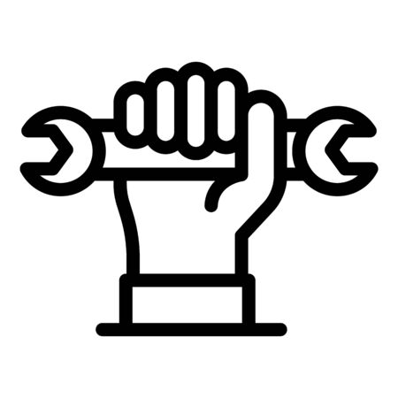 Repairman wrench icon, outline style