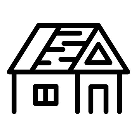House with an unfinished roof icon. Outline house with an unfinished roof vector icon for web design isolated on white background
