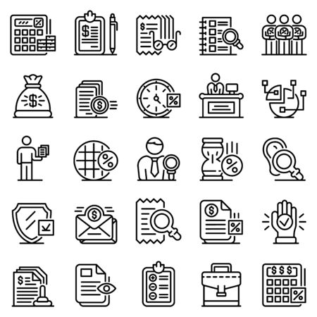 Tax inspector icons set, outline style