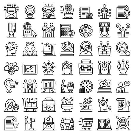 Purchasing Manager icons set. Outline set of Purchasing Manager vector icons for web design isolated on white background Vektoros illusztráció