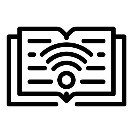 Download a book via wi fi icon, outline style Ilustracja