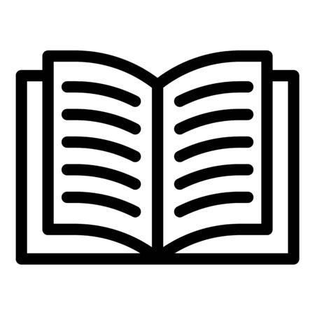 Open textbook icon, outline style