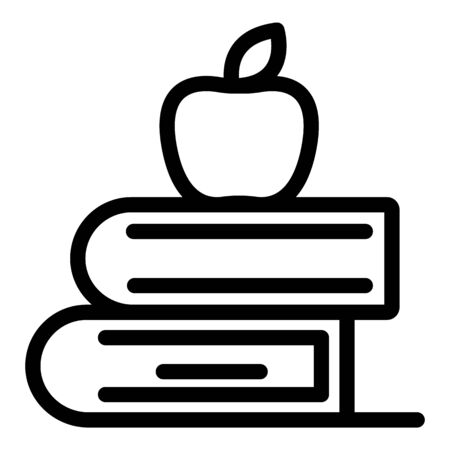 Apple on books icon, outline style