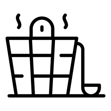Bucket for a sauna icon, outline style