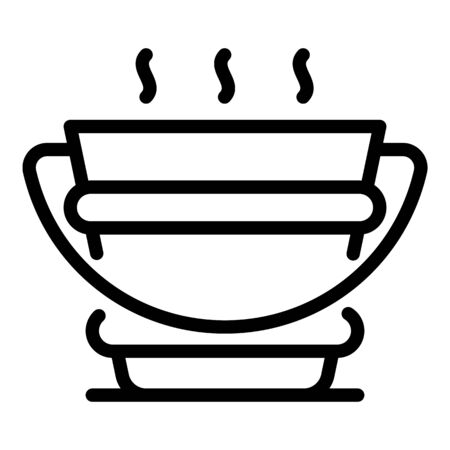 Bucket of hot water icon, outline style