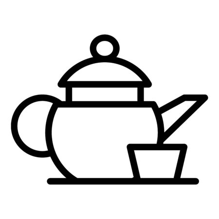 Kettle with a cup icon, outline style