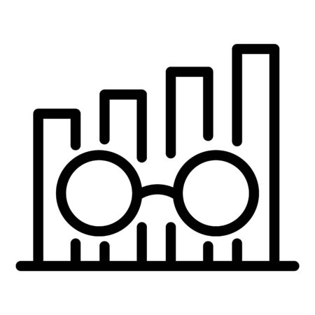 Chart and eyeglasses icon. Outline chart and eyeglasses vector icon for web design isolated on white background 일러스트