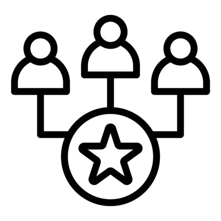 Star in a circle and people icon, outline style