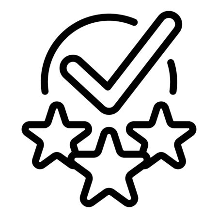 Checkmark and stars icon. Outline checkmark and stars vector icon for web design isolated on white background Ilustrace