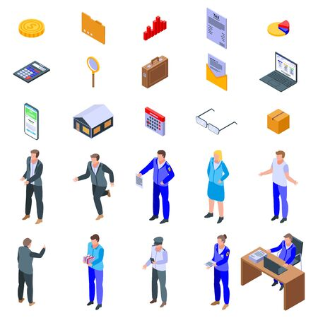 Tax inspector icons set. Isometric set of tax inspector vector icons for web design isolated on white background