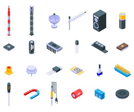 Radio engineer icons set. Isometric set of radio engineer vector icons for web design isolated on white background